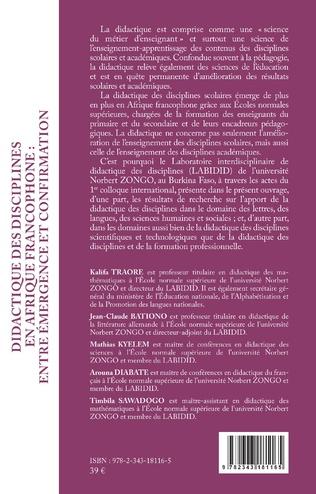 4eme Didactique des disciplines en Afrique francophone : entre émergence et confirmation