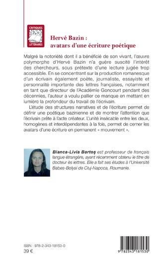 4eme Hervé Bazin : avatars d'une écriture poétique