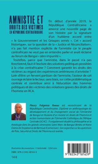 4eme Amnistie et droits des victimes en République Centrafricaine