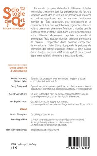 4eme Les artistes et leurs institutions : registres d'action et réceptions des dispositifs