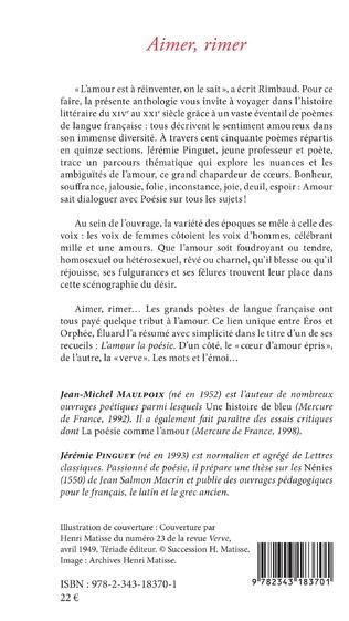 Aimer Rimer 150 Poèmes Pour Réinventer Lamour