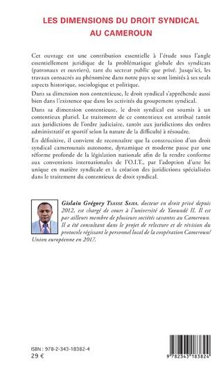 4eme Les dimensions du droit syndical au Cameroun