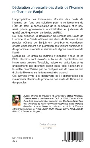 4eme Déclaration universelle des droits de l'Homme et Charte de Banjul