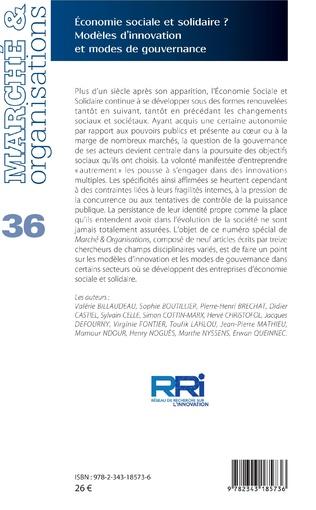 4eme Economie sociale et solidaire ? Modèles d'innovation et modes de gouvernance
