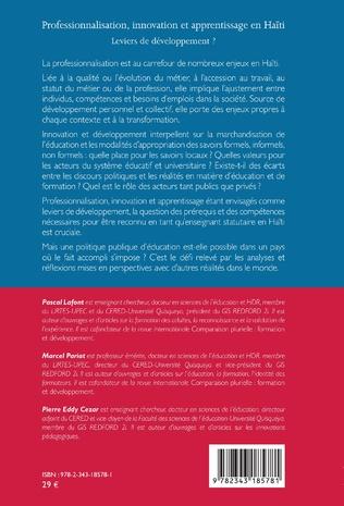 4eme Professionnalisation, innovation et apprentissage en Haïti