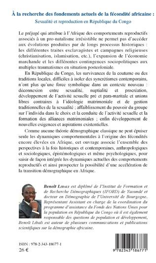 4eme A la recherche des fondements actuels de la fécondité africaine : sexualité et reproduction en République du Congo