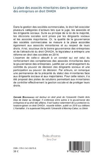 4eme La place des associés minoritaires dans la gouvernance ds entreprsies en droit OHADA