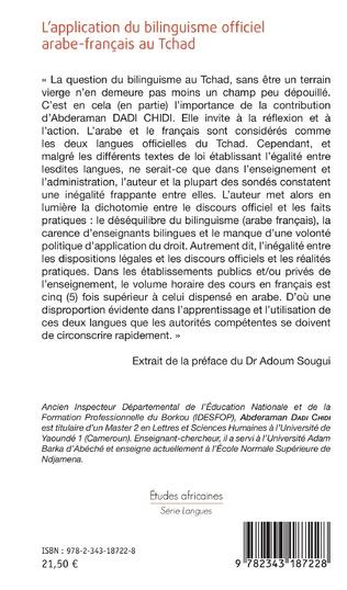 4eme L'application du bilinguisme officiel arabe-français au Tchad