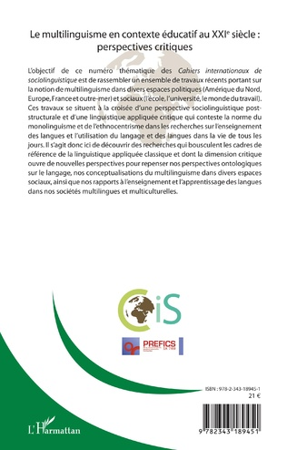 4eme Cahiers internationaux de Sociolinguistinque n°16