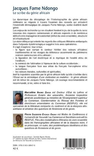 4eme Jacques Fame Ndongo. Le scribe du génie africain