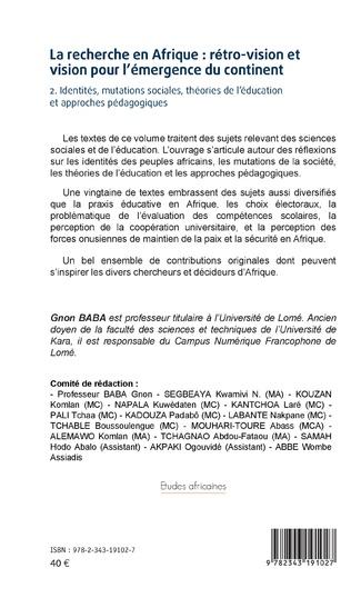 4eme La recherche en Afrique Tome 2 : : rétro-vision et vision pour l'émergence du continent