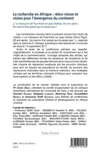 4eme La recherche en Afrique Tome 3 : rétro-vision et vision pour l'émergence du continent