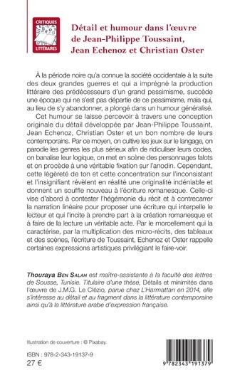 4eme Détail et humour dans l'oeuvre de Jean-Philippe Toussaint, Jean Echenoz et Christian Oster