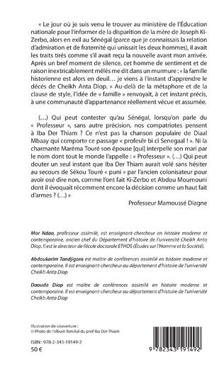 4eme Mélanges offerts au Prof. Iba Der Thiam. Professeur agrégé d'histoire