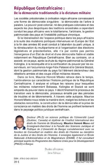 4eme République Centrafricaine : De la démocratie traditionnelle à la dictature militaire