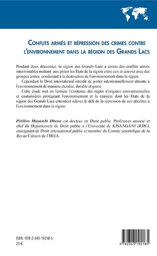 4eme Conflits armés et répression des crimes contre l'environnement dans la région des Grands Lacs