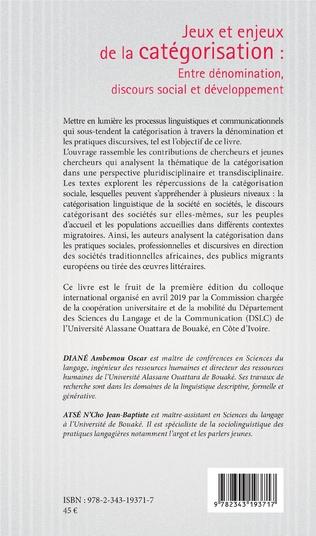 4eme Jeux et enjeux de la catégorisation : entre dénomination, discours social et développement