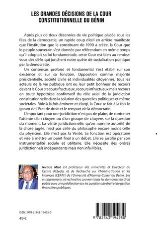 4eme Les grandes décisions de la cour constitutionnelle du Bénin