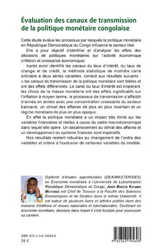 4eme Evaluation des canaux de transmission de la politique monétaire congolaise