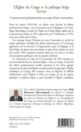 4eme L'Église du Congo et la politique belge 1953-1954