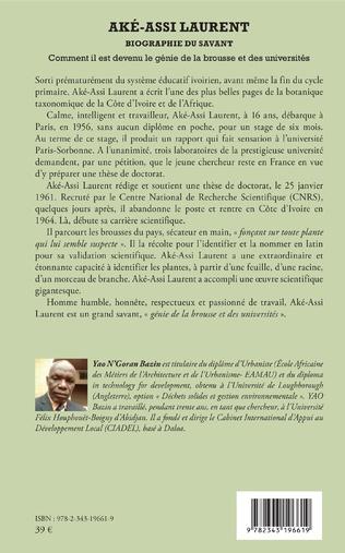 4eme Aké-Assi Laurent. Biographie du savant