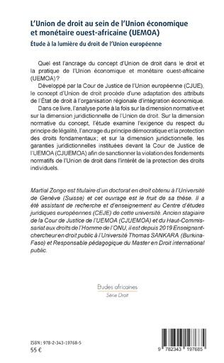 4eme L'Union de droit au sein de l'Union économique et monétaire ouest-africaine (UEMOA)