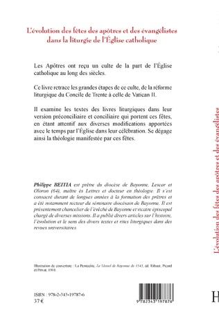 4eme L'évolution des fêtes des apôtres et des évangélistes dans la liturgie de l'Eglise catholique