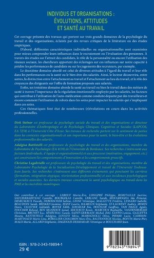4eme Individus et organisations : évolutions, attitudes et santé au travail