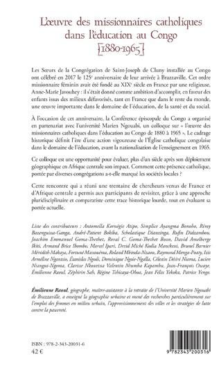 4eme L'oeuvre des missionnaires catholiques dans l'éducation au Congo (1880-1965)