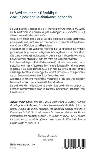 4eme Le Médiateur de la République dans le paysage institutionnel gabonais