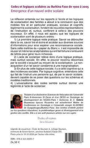 4eme Codes et logiques scolaires au Burkina Faso de 1900 à 2005