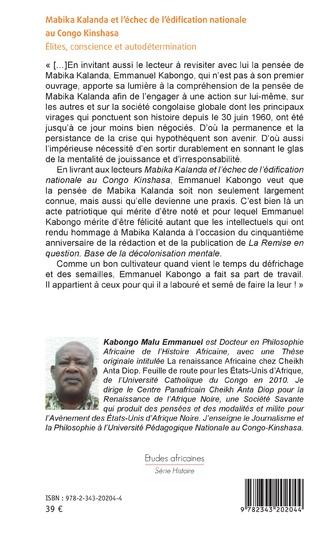 4eme Mabika Kalanda et l'échec de l'édification nationale au Congo Kinshasa