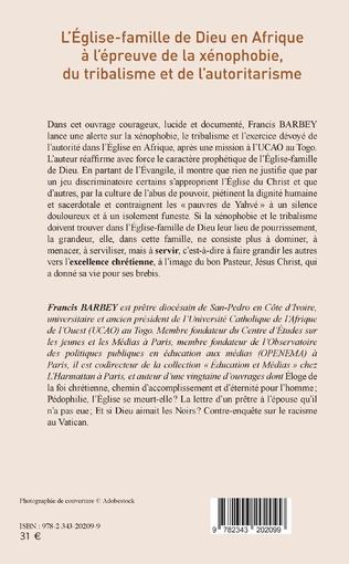 4eme L'Eglise-famille de Dieu en Afrique à l'épreuve de la xénophobie, du tribalisme et de l'autoritarisme