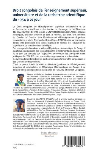 4eme Droit congolais de l'enseignement supérieur, universitaire et de la recherche scientifique de 1954 à ce jour