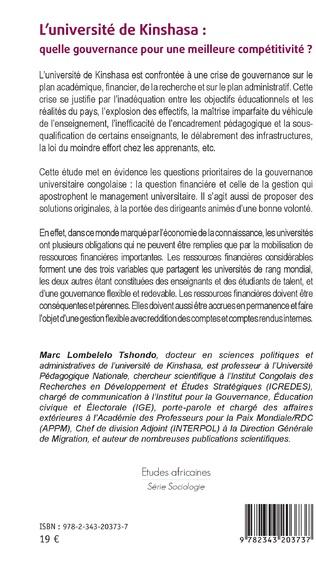 4eme L'université de Kinshasa : quelle gouvernance pour une meilleure compétitivité ?