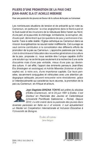 4eme Piliers d'une promotion de la paix chez Jean-Marc Ela et Achille Mbembe