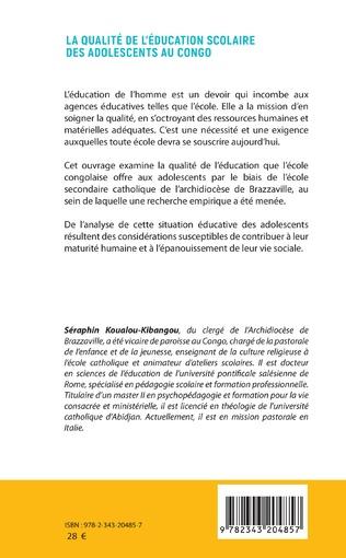 4eme La qualité de l'éducation scolaire des adolescents au Congo