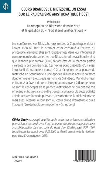 4eme Georg Brandes : F. Nietzsche, un essai sur le radicalisme aristocratique (1889)