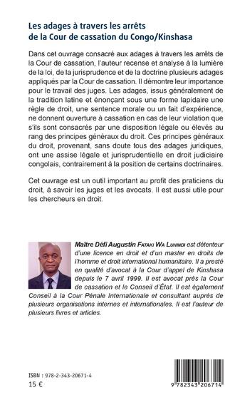 4eme Les adages à travers les arrêts de la Cour de cassation du Congo/Kinshasa