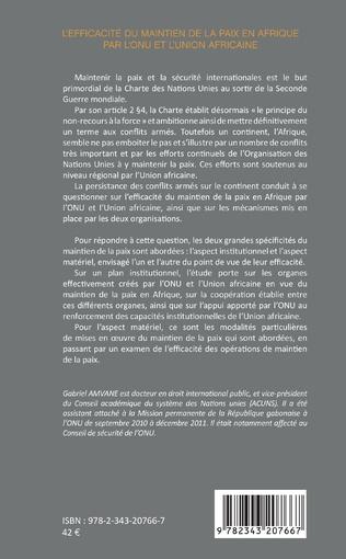 4eme L'efficacité du maintien de la paix en Afrique par l'ONU et l'Union africaine