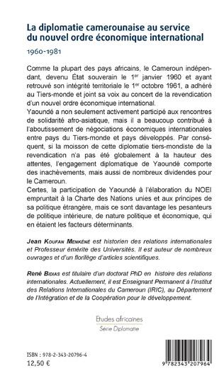 4eme La diplomatie camerounaise au service du nouvel ordre économique international