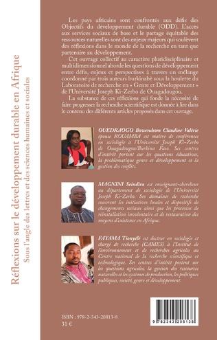 4eme Réflexions sur le développement durable en Afrique