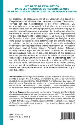 4eme Les défis de l'évaluation dans les pratiques de Reconnaissance et de Validation des Acquis de l'Expérience (RVAE)