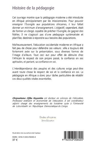 4eme Histoire de la pédagogie. Lumières sur la pédagogie traditionnelle africaine
