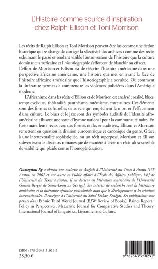 4eme L'Histoire comme source d'inspiration chez Ralph Ellison et Toni Morrison