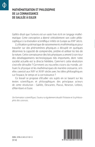 4eme Mathématisation et philosophie de la connaissance de Galilée à Euler