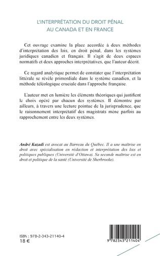 4eme L'interprétation du droit pénal au Canada et en France