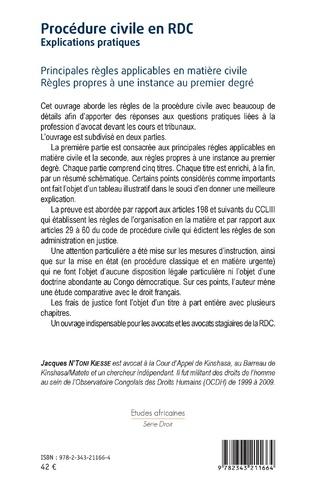 4eme Procédure civile en RDC. Explications pratiques