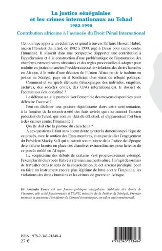 4eme La justice sénégalaise et les crimes internationaux au Tchad 1982-1990