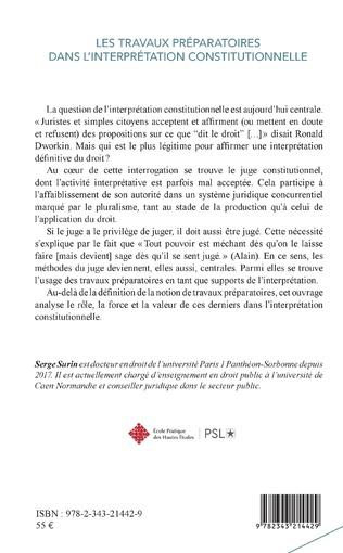 4eme Les travaux préparatoires dans l'interprétation constitutionnelle